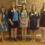 Pictured (left to right) –TPW President Barbara Davis, 2014 scholarship recipients Aimee Dufreche, April Gaydos, Hillory Hracek, Sarah Kron, Maria Lansden, Laken Sciortino and TPW Scholarship Chair, Rose Dominguez.  Scholarship recipients not pictured are Abby Earles and Rebecca Schnadelbach.