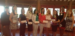 Pictured in the Photo (left to right)- TPW President Barbara Davis, Claire Salinas, Hannah Pierce, Brittany Pickett, Dynnishea Jones, Abby Earles, Aimee Elizabeth Dufreche,  Christine Alexis Dominguez, Chanta Bryant, and Scholarship Chair, Betty Nepveux.